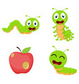 cute caterpillar cartoon cartoon collection set vector image vector image