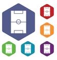 Football field icon hexagon set vector image