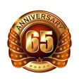 65 years anniversary golden label with ribbon vector image