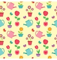 Pattern of flowers in pots and watering cans vector image vector image