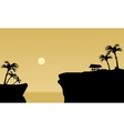 Silhouette of gazebo in cliff vector image