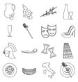 Italy travel icons set outline style vector image