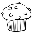 muffin with chocolate coloring book vector image