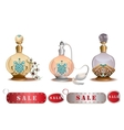 Perfume bottles sale vector image