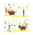 set of coffee house people flat symbols vector image
