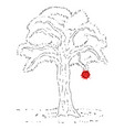 tree and red apple vector image