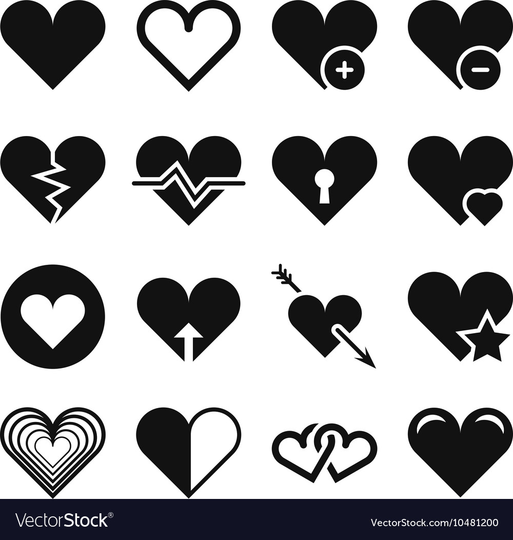 Love heart icons set vector
