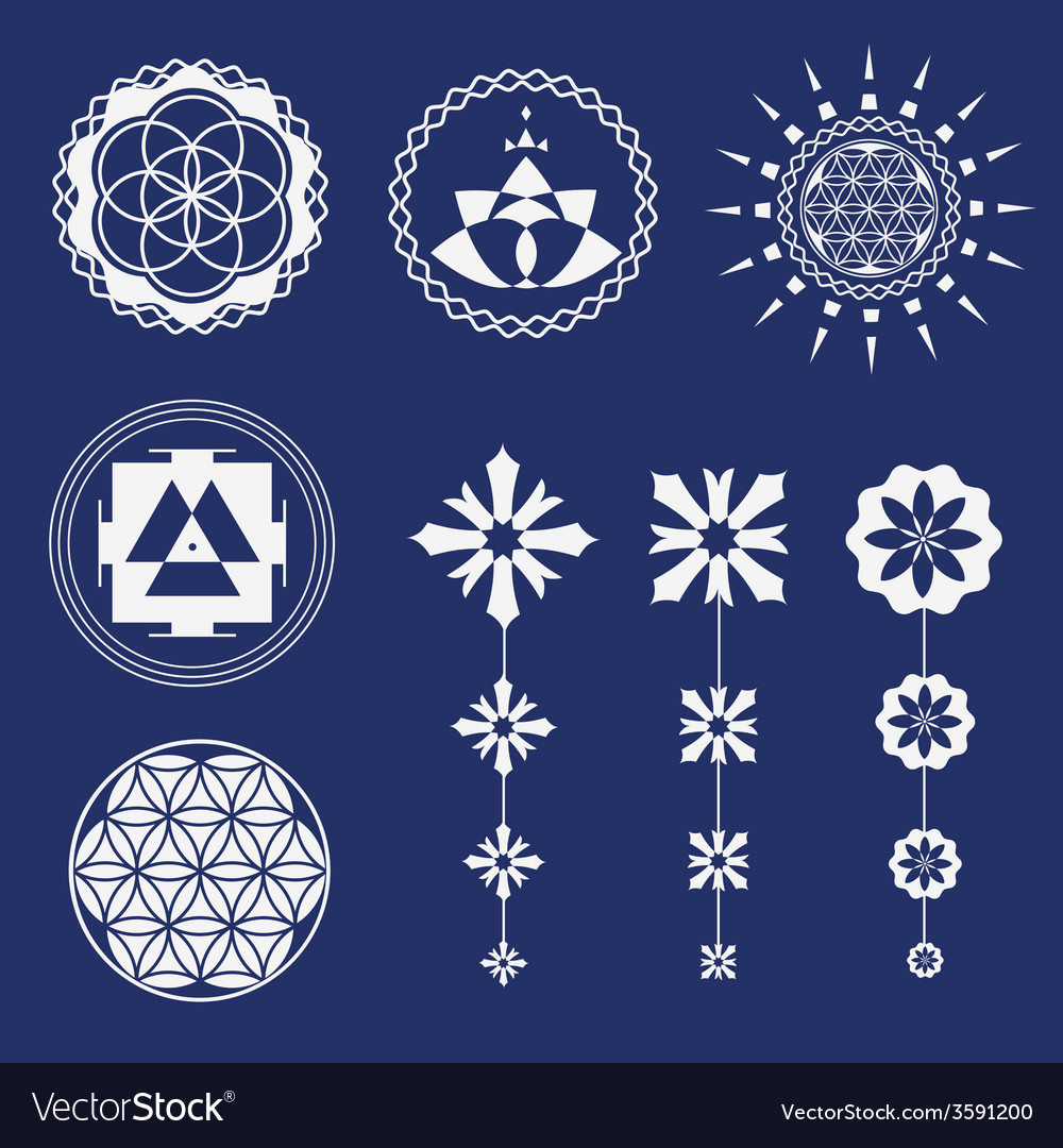 Sacred geometry art elements vector