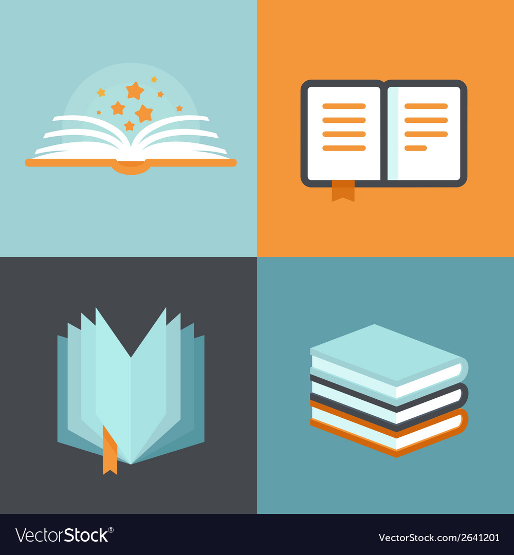 Book signs and symbols  education concepts vector