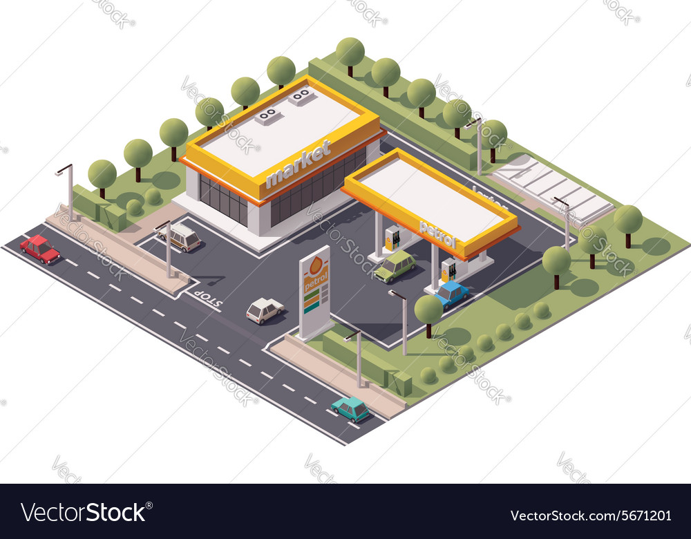 Isometric filling station vector