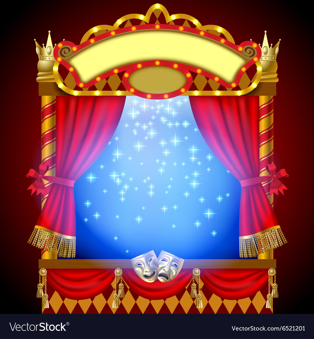 Puppet show booth with theater vector