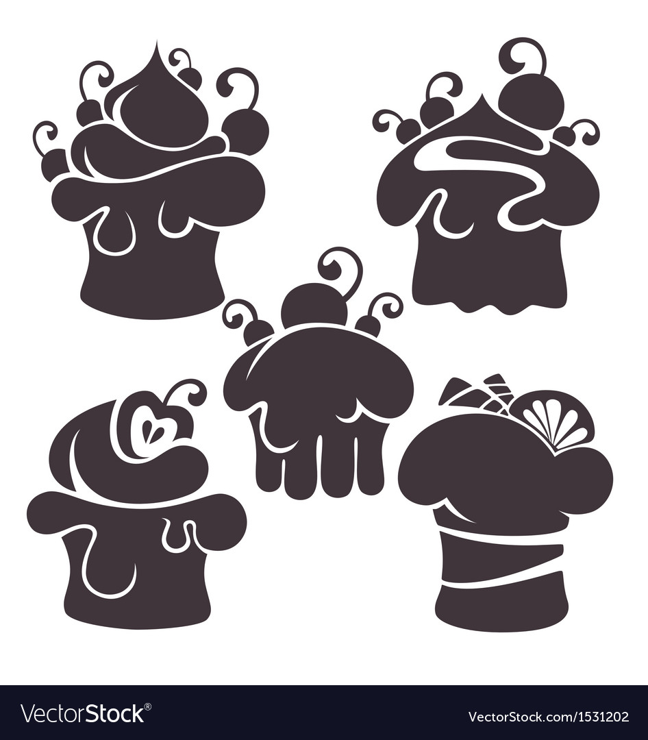 Cakes silhouettes vector