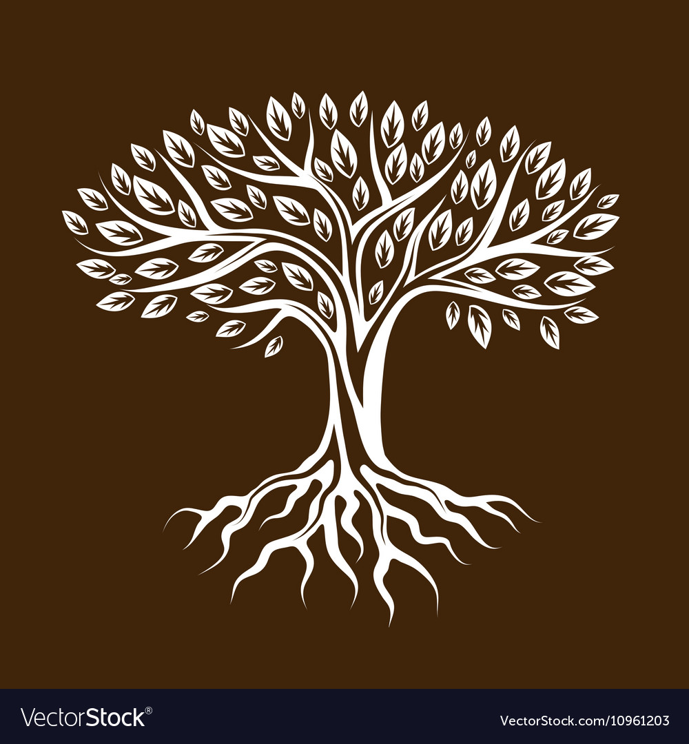 Abstract stylized tree with roots and leaves vector