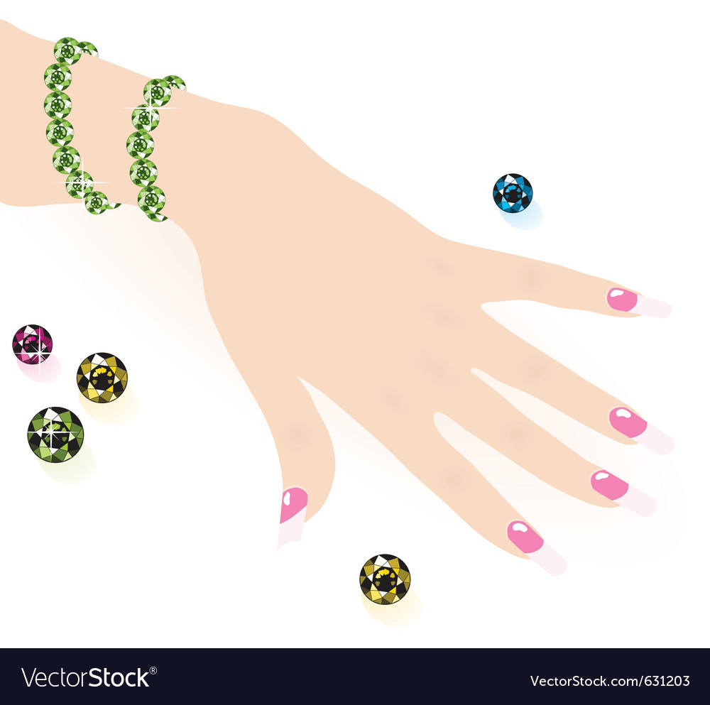 Green emerald bracelet on woman hand vector
