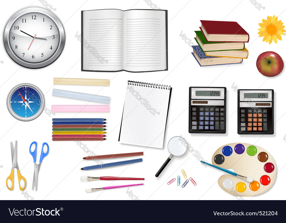 Big set of school supples vector