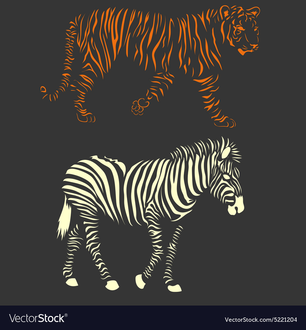 Zebra and tiger vector