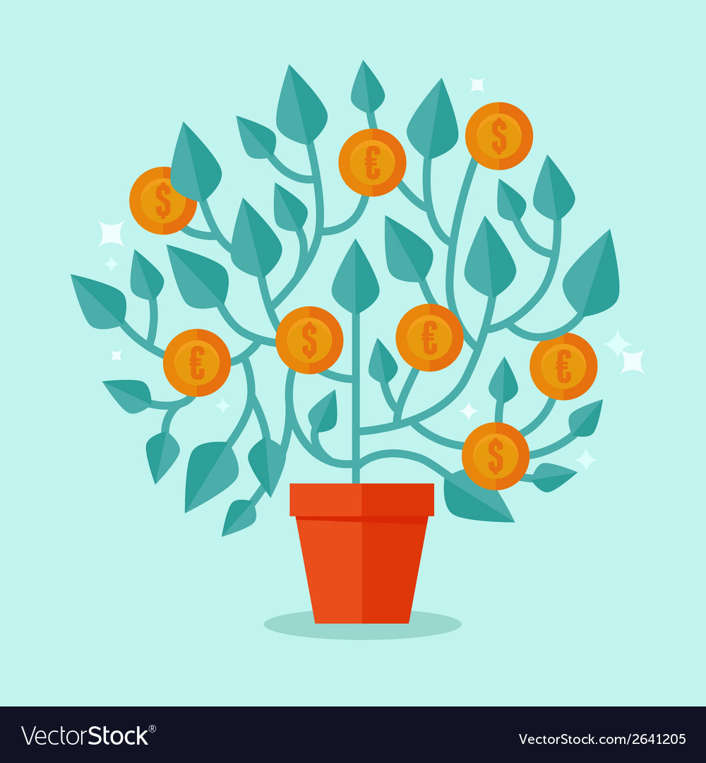 Money tree concept in flat style vector