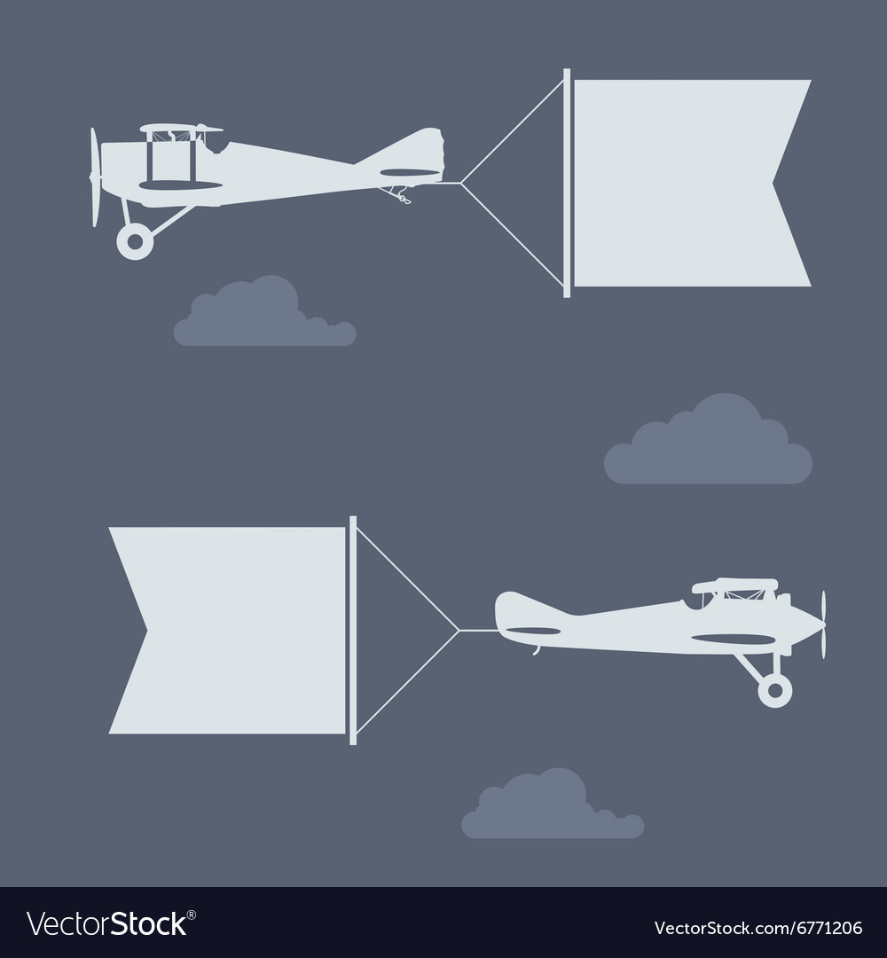 Flying biplanes with blank greetings banner flag vector