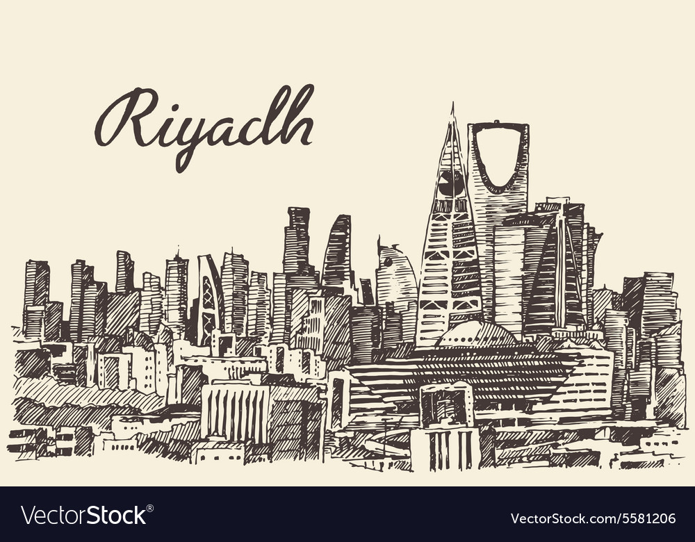 Riyadh skyline engraved hand drawn sketch vector