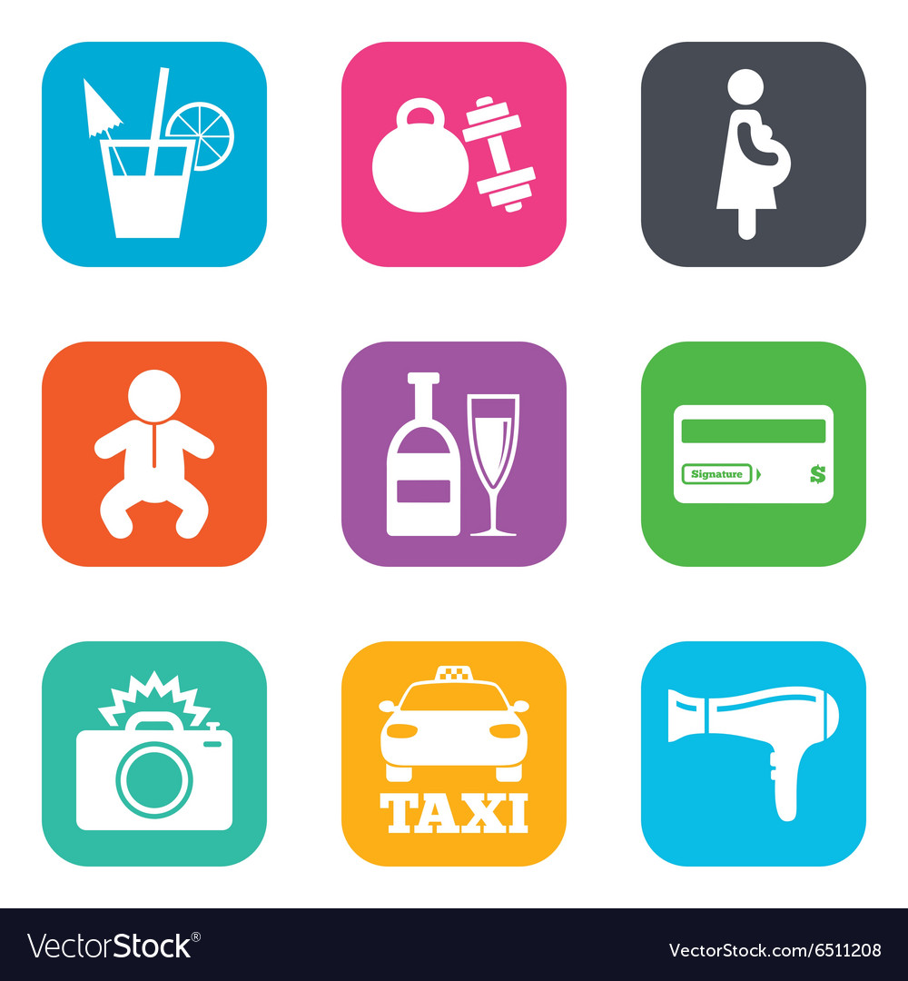 Hotel apartment service icons fitness gym vector