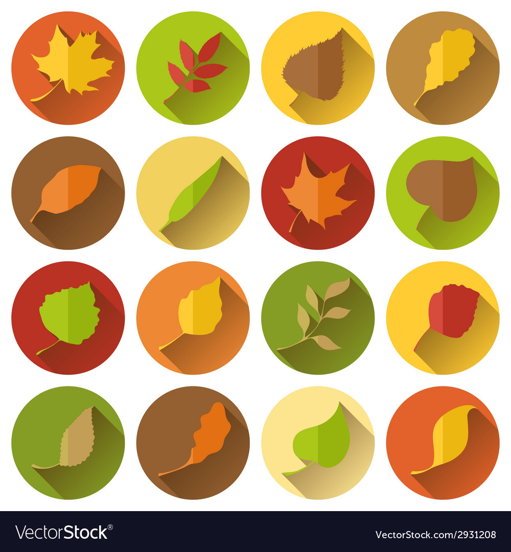 Set of round flat icons with long shadow vector