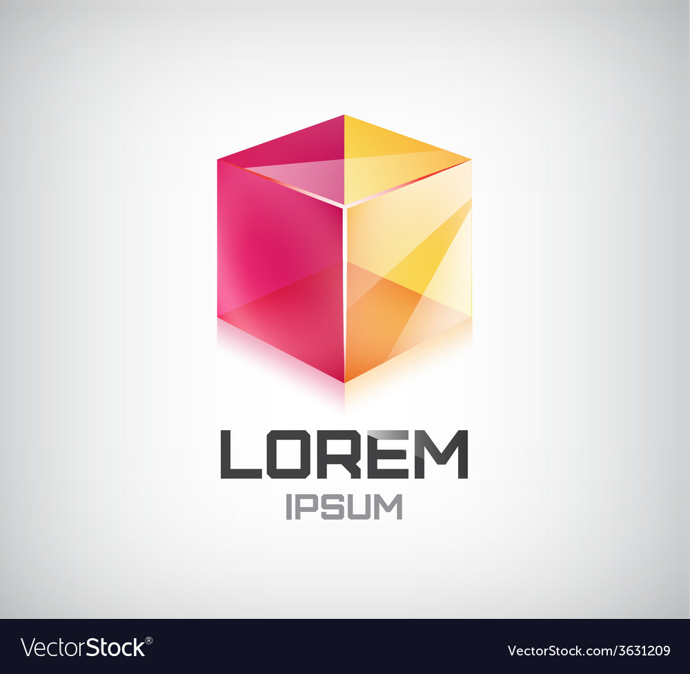 Abstract 3d cube construction logo vector
