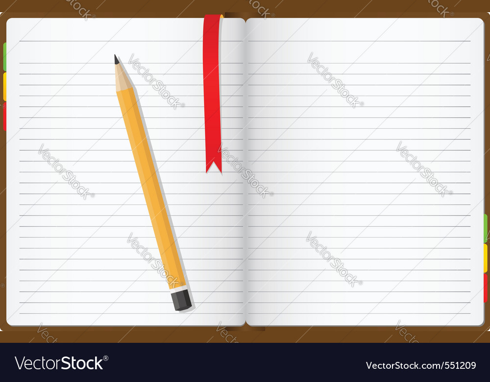 Opened notebook vector