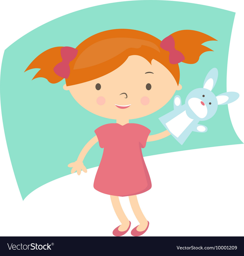 Small girl with hand puppet toy vector