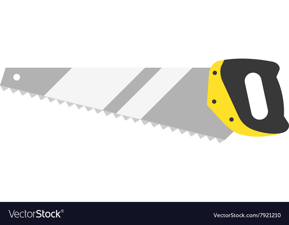 Hand saw tools hand equipment flat isolated vector
