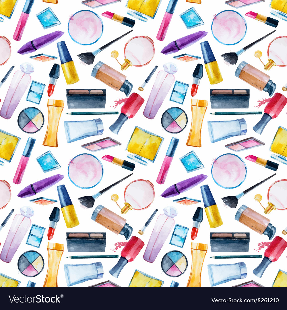 Watercolor cosmetics pattern vector