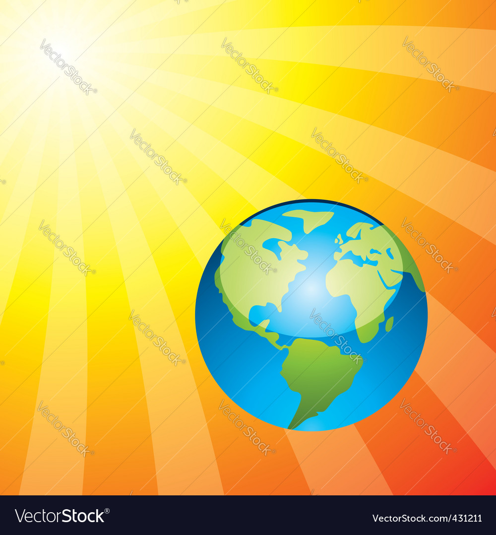 Earth and rising sun vector