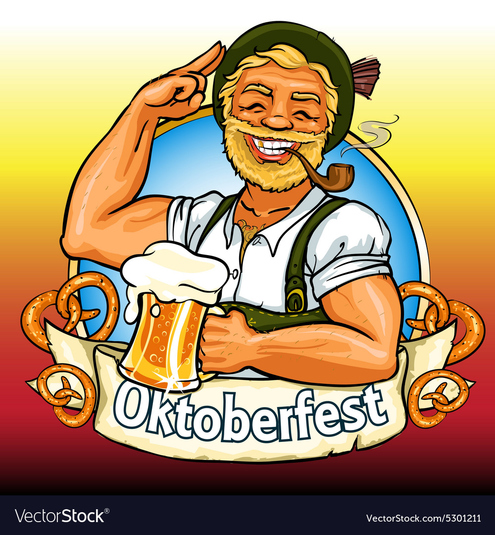 Smiling bavarian man with beer and smoking pipe vector