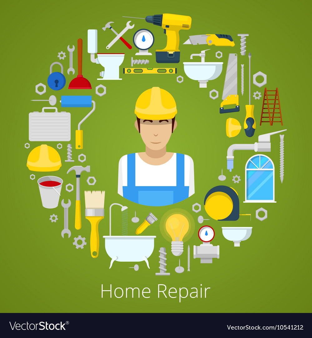 Home house repair with repairs tools vector