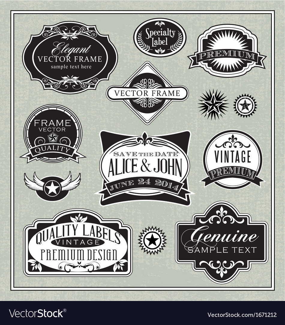 Vintage labels frames design elements vector