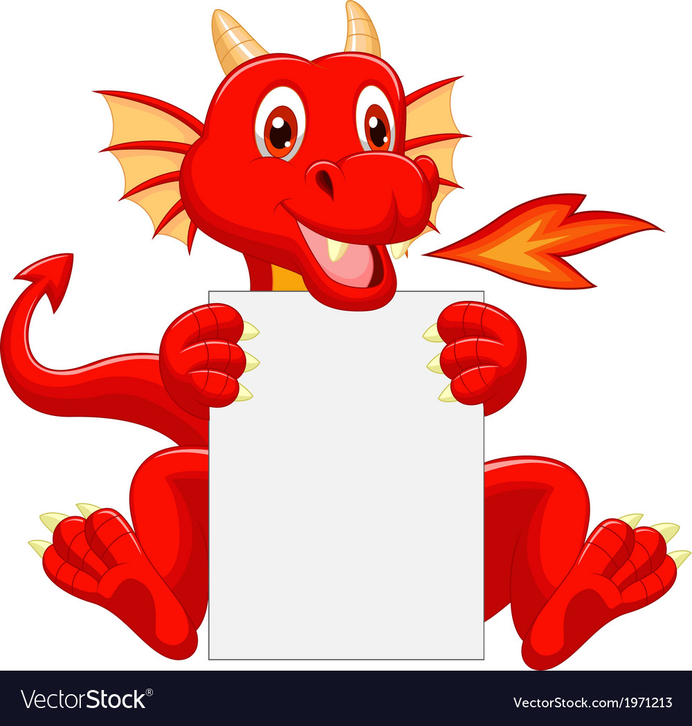Cute dragon cartoon holding blank sign vector