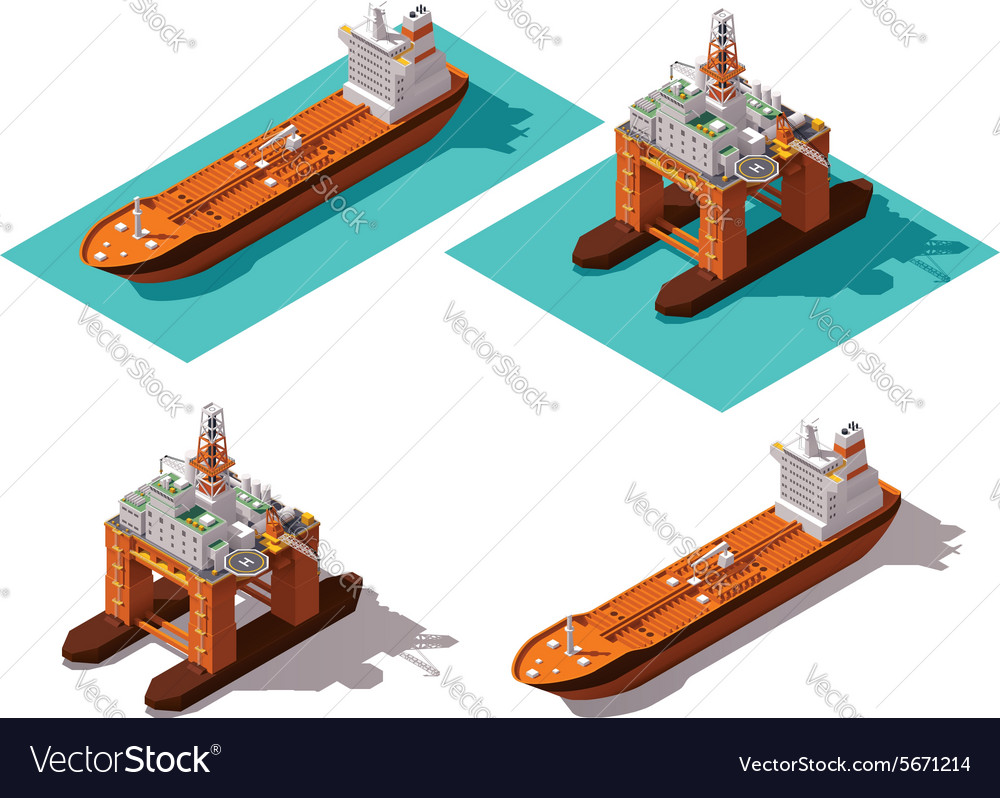 Isometric tanker and oil rig vector