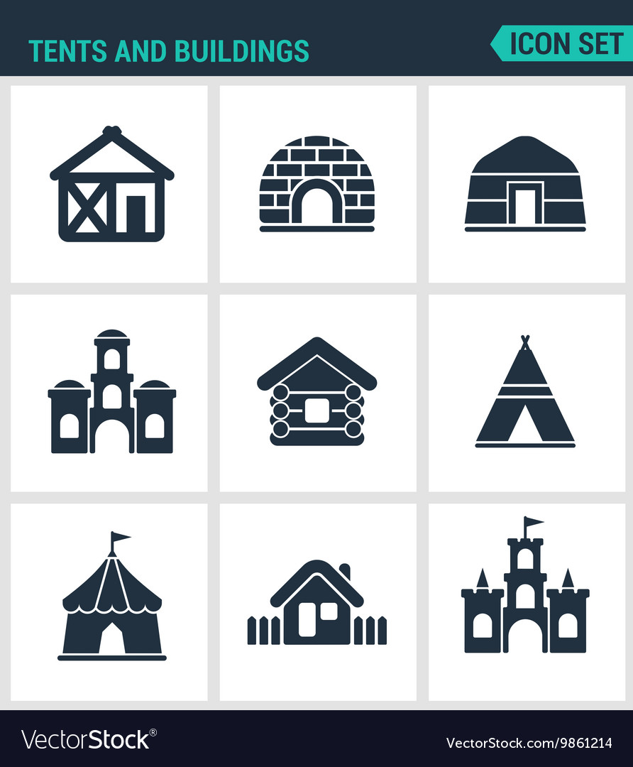 Set modern icons tents and buildings tent vector