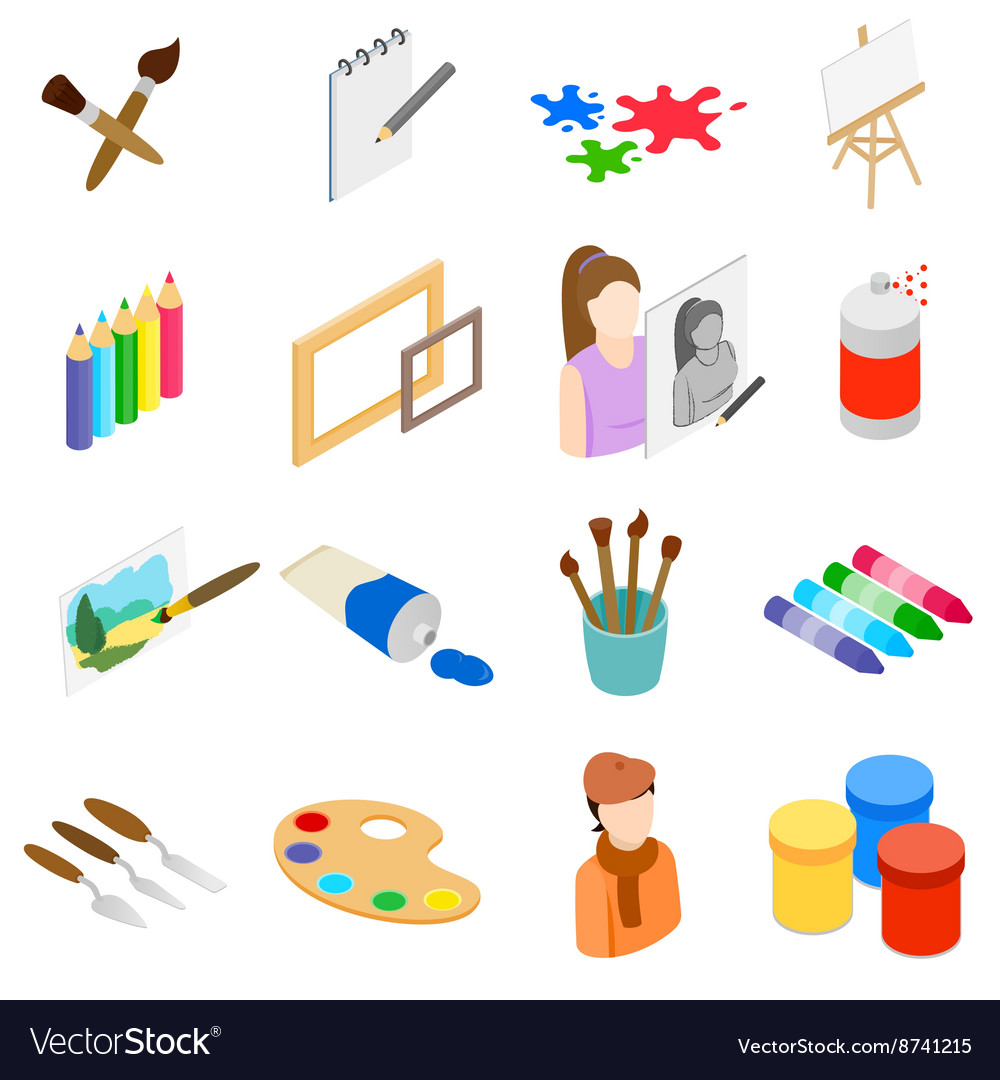 Art icons set isometric 3d style vector