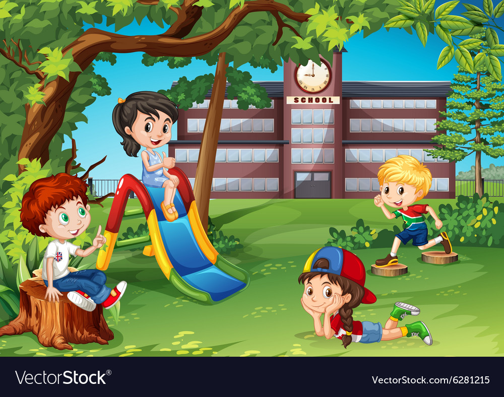 Students playing in the school playground vector