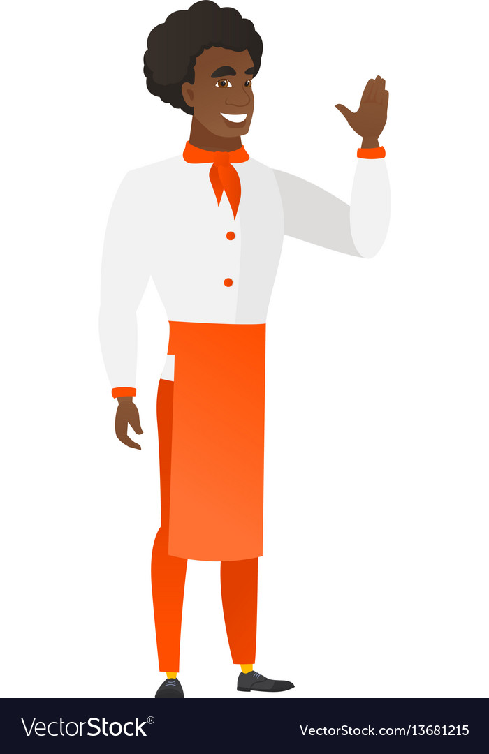 Young africanamerican chef cook waving his hand vector