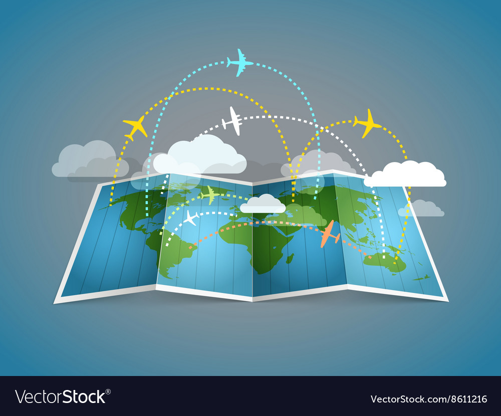 Airplanes flying over the abstract map vector
