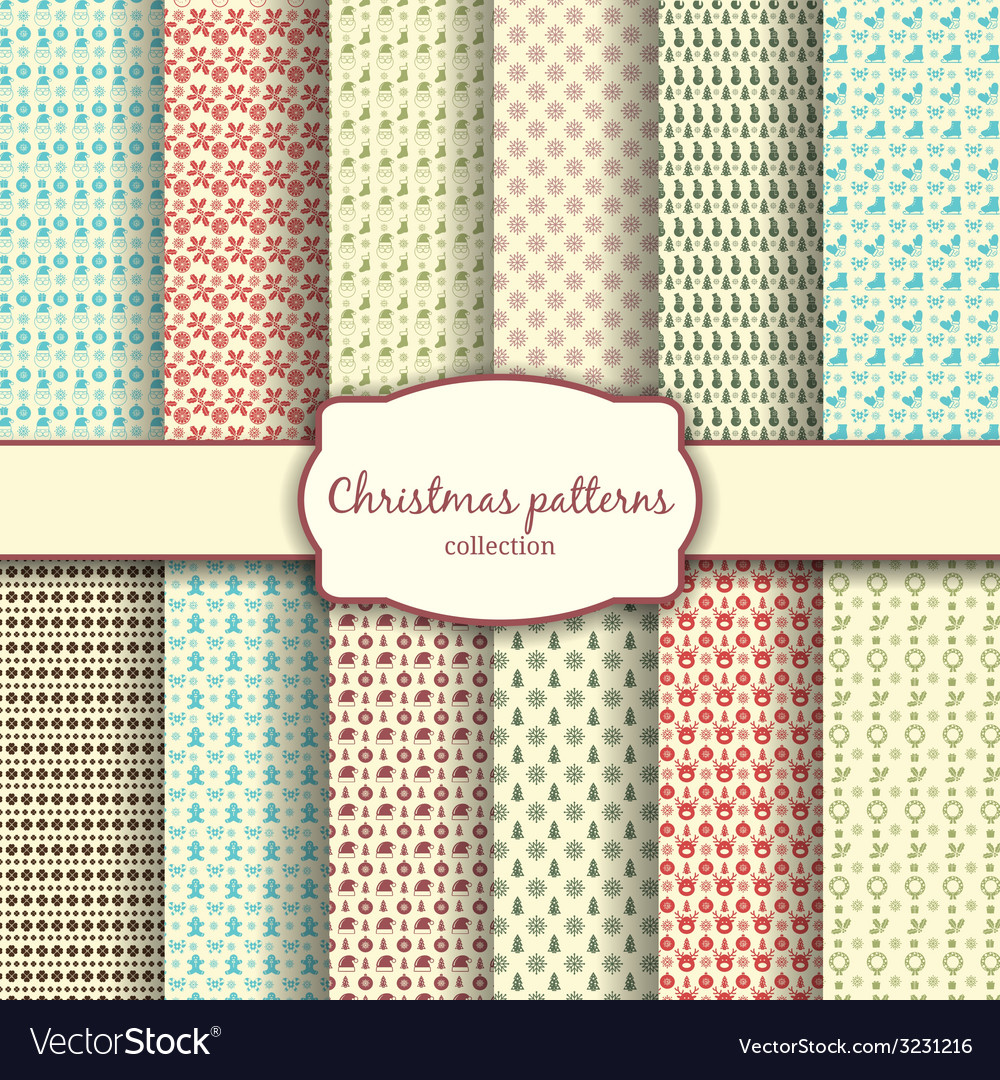 Assortment of christmas patterns with label vector