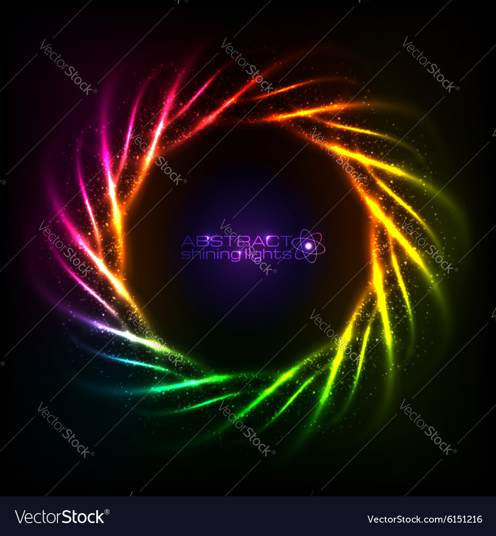 Shining neon rainbow lines cosmic frame vector