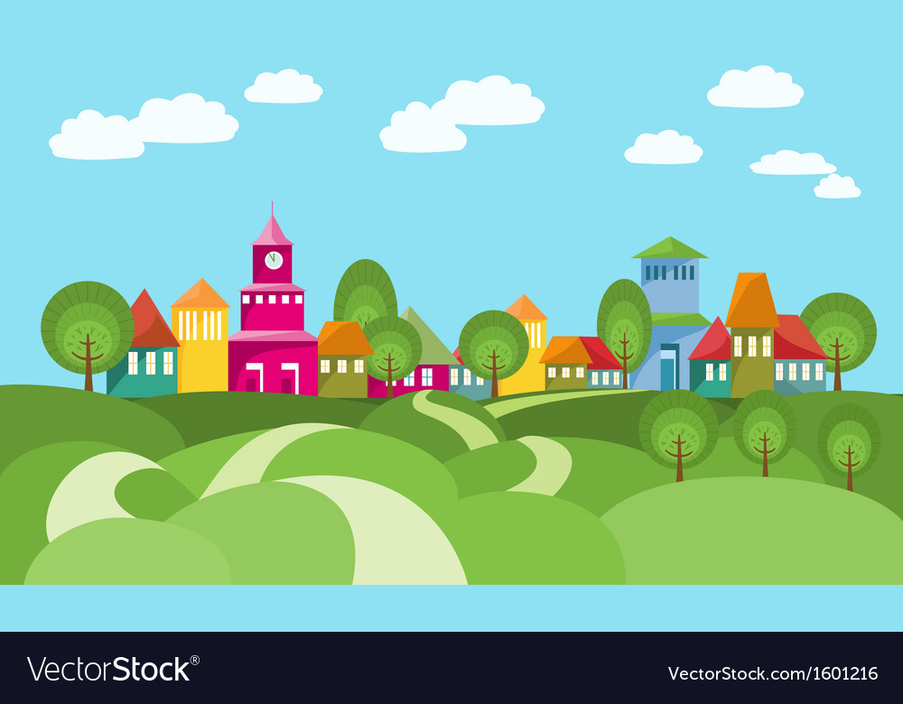 Way to village between rolling hills vector