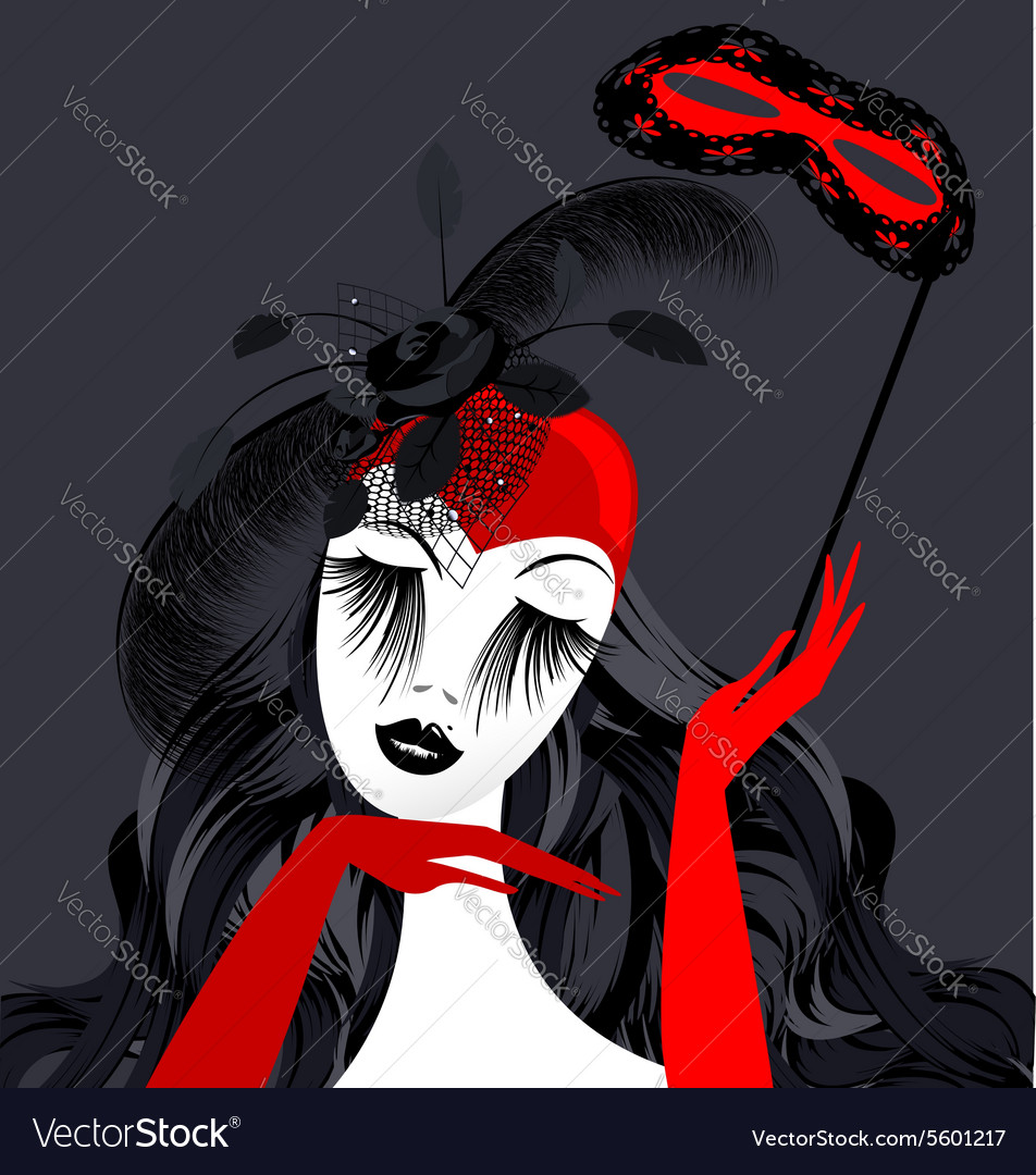 Abstract lady with red mask vector