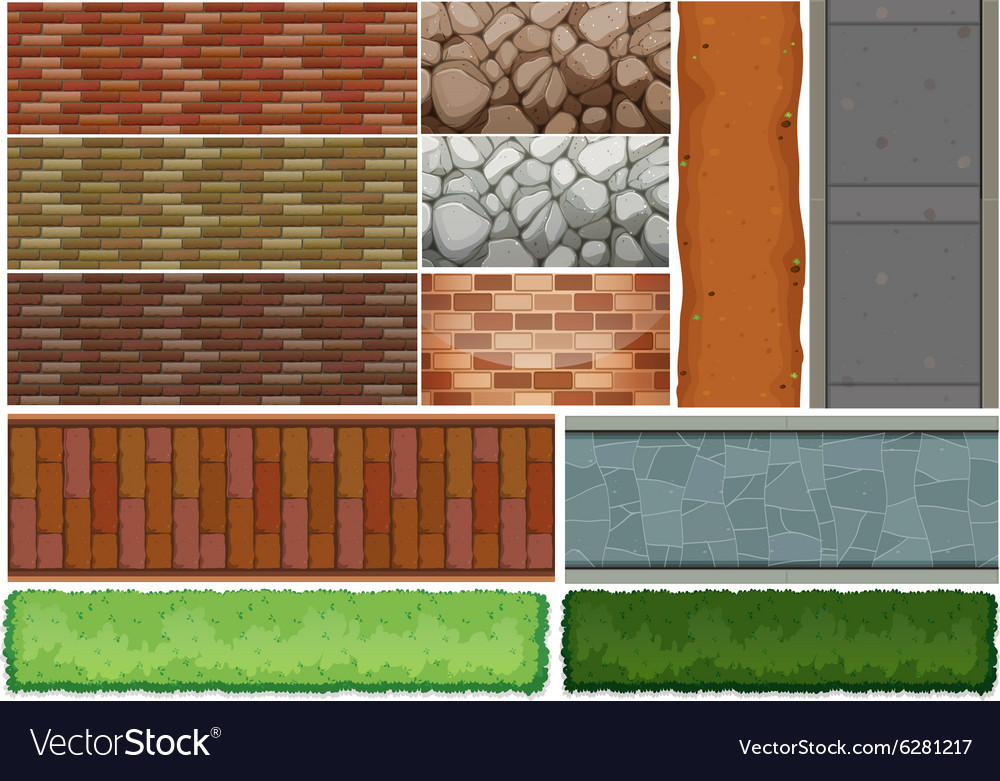 Wall tiles pattern and bush vector