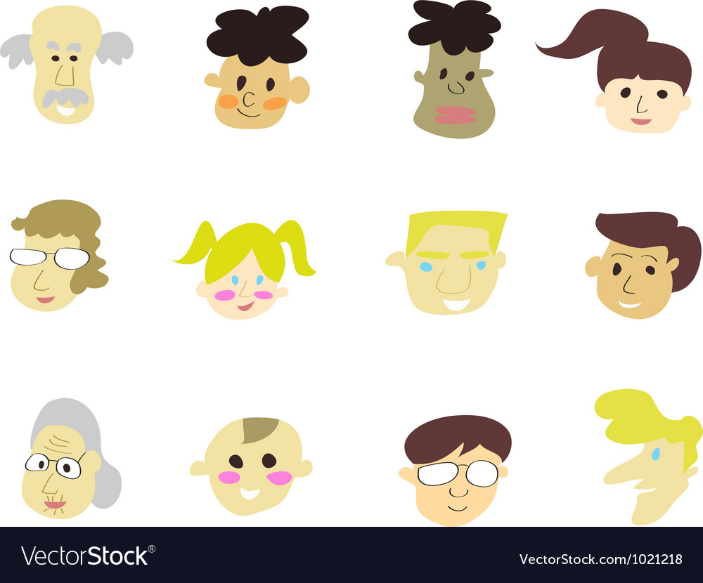 Doodle cartoon people icons vector