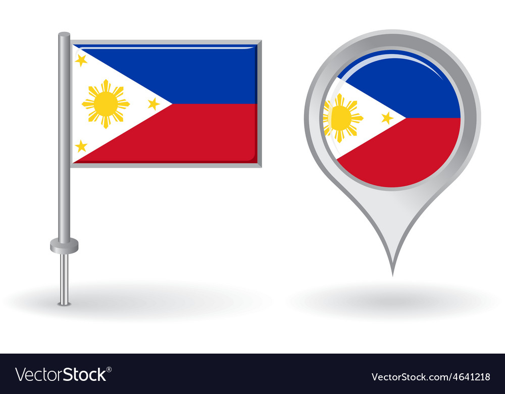 Philippines pin icon and map pointer flag vector