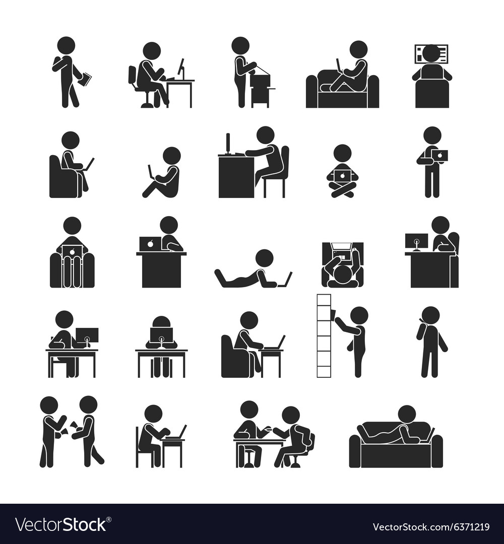Set of businessman working vector