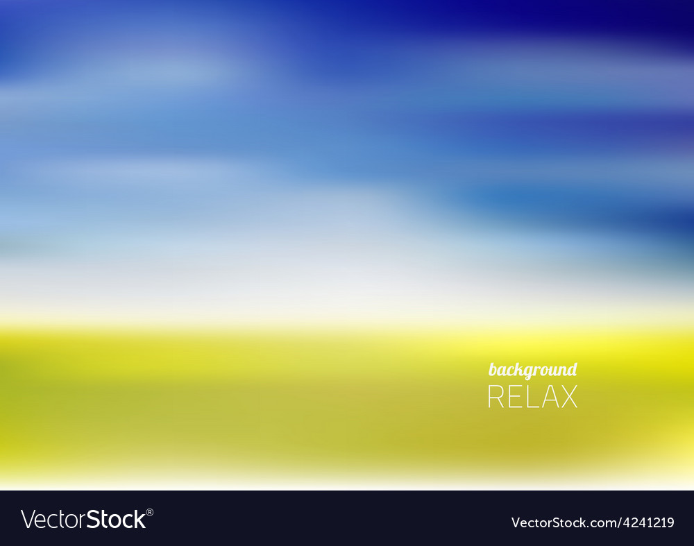 Yellow meadow under blue sky with clouds vector